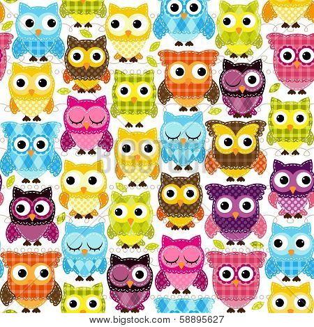 Seamless and Tileable Vector Owl Background Pattern poster