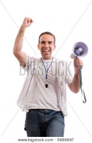 A young fan is cheering because his team scored isolated against a white background poster
