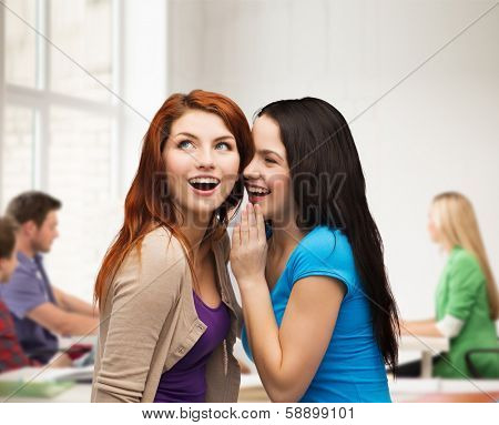 friendship, happiness and education concept - two smiling girls whispering gossip