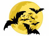 halloween backgrounds. bats silhouette on moon. vector poster
