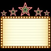 Blank movie, theater or casino marquee with neon stars above isolated on black background. poster