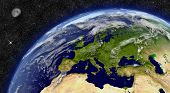 Europe region on planet Earth from space with Moon and stars in the background. Elements of this image furnished by NASA. poster
