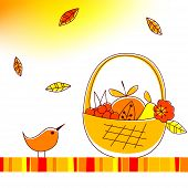 Vector illustration of autumnal theme with bird and fruits poster