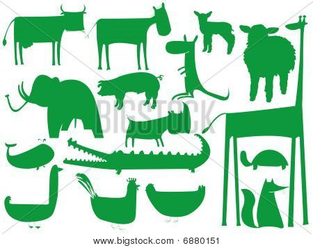 Animal Green Silhouettes Isolated On White Background