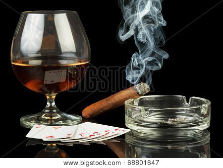 Cards, cigar and glass of whisky
