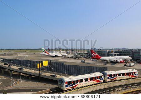 JFK Airport AirTrain in the front of Terminal 4 in NY