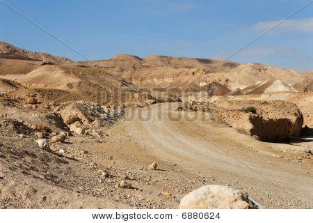 Straße in der steinigen Wüste