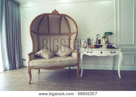 Vintage Of Brown Sofa And Untidy Desk
