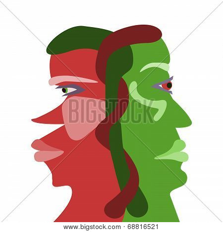 Two interdependences face profiles