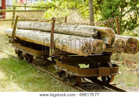 Old Railway Wagon With Timber