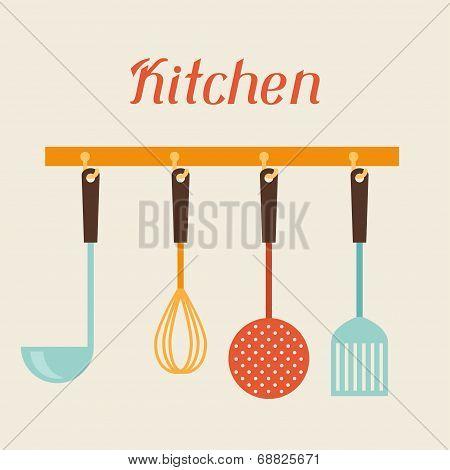 Kitchen and restaurant utensils spatula, whisk, strainer, spoon.