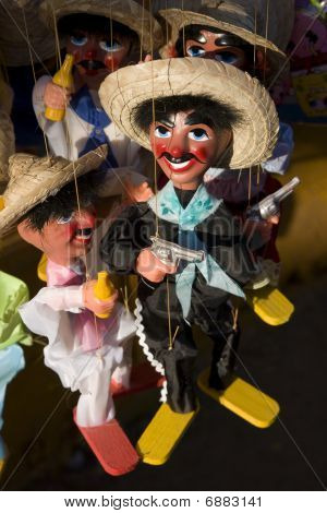 Puppets At A An Open-air Market In Baja Mexico