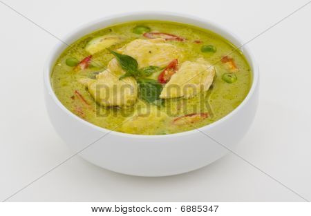 Green Curry In A White Bowl