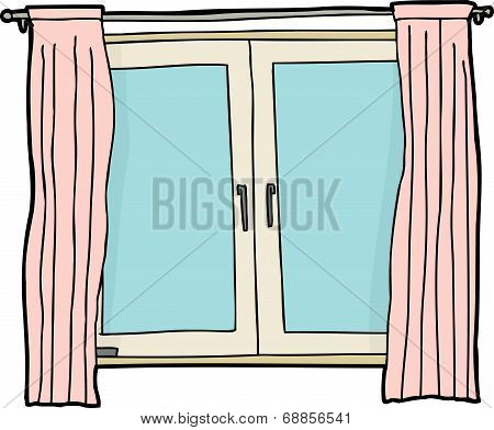 Window With Pink Drapes