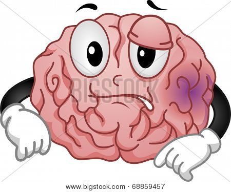 Mascot Illustration Featuring a Brain Sporting a Purplish Bruise