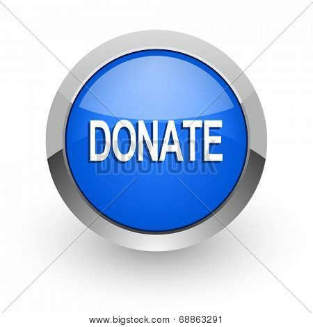 donate blue glossy web icon