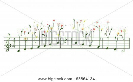 Melody with flowers - gamma illustration