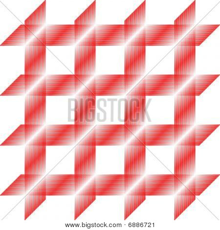 Red and white striped square pattern, seamless tile, vector poster