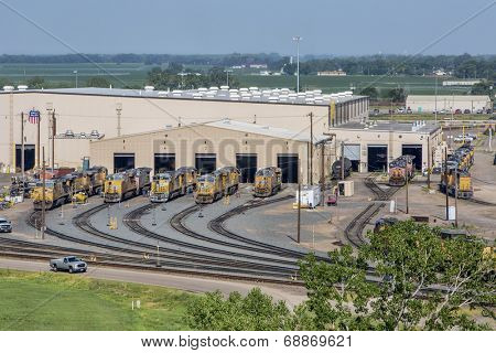 NORTH PLATTE, NEBRASKA, JULY 14, 2014:  A locomotive repair shop in Union Pacific's Bailey rail yard from Golden Spike Tower. The world's largest train yard is handling 10,000 cars each day.