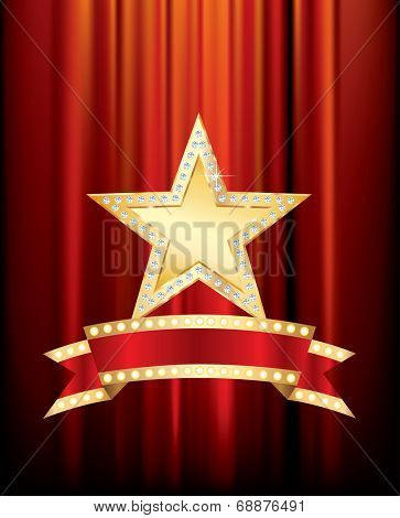 vector golden star with diamonds and blank bulb banner