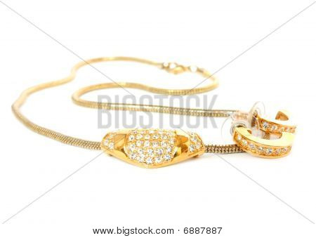 Golden Necklace And Earrings