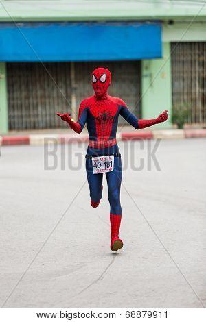 Fancy Running Athlete In Mini-marathon Race