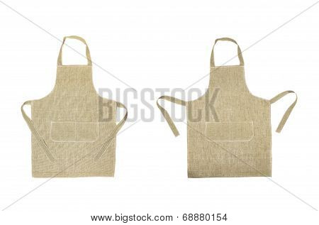 Two kitchen gray aprons. Front view.