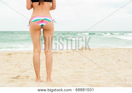 Woman on beach wearing bikini, standing back looking to sea