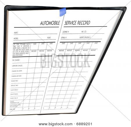 Automobile Service Record, Isolated On White