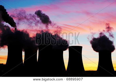 Silhouette Of Nuclear Power Plant During Sunset