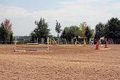 Equestrian sports field. Equestrian training field. Equestrian sport. poster