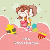 Beautiful concept on occasion of Raksha Bandhan celebrations with cute sister and brother playing on creative abstract background.  poster