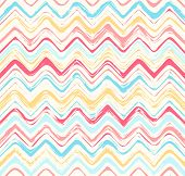 Colorful stripes seamless zigzag pattern. Abstract background with hand drawn stripes. Vector watercolor lines background. poster