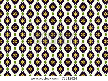 Dark Purple Retro Flower And Leaves And Lobe Pattern On Pastel Background