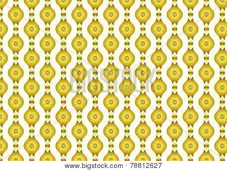 Gold Retro Flower And Leaves And Lobe Pattern On Pastel Background