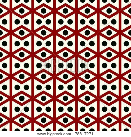 Red Rhomboid And Circle Pattern On Pastel Color