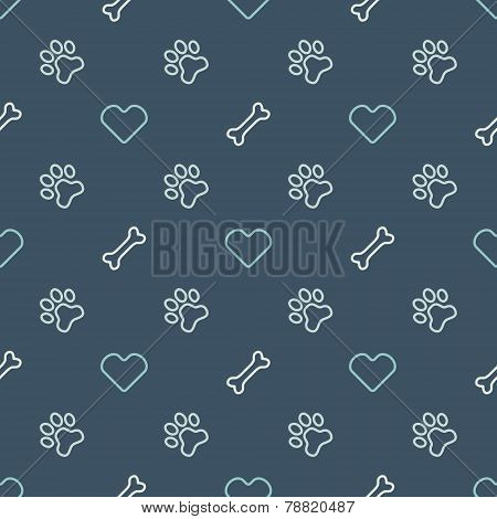 Vector animal seamless pattern of paw footprint