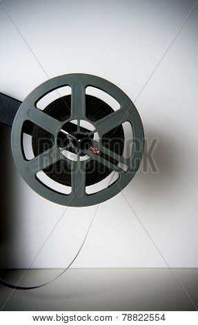 Old Fashioned Movie Reel On White Background