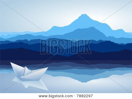 blue mountains with lake and paper ship