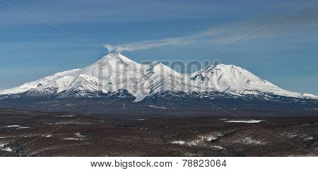 Panorama view of the volcanoes of Kamchatka: Avachinsky Volcano and Kozelsky Volcano