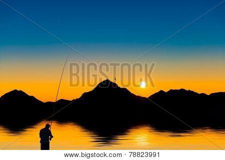 Fisherman In A Mountain Lake At Sunset