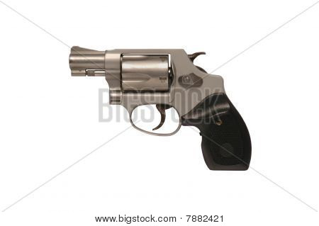 Smith & Wesson snubnose police revolver against white poster