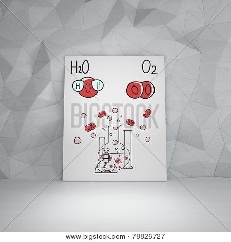 Chemical elements H2O and O2 on placard poster