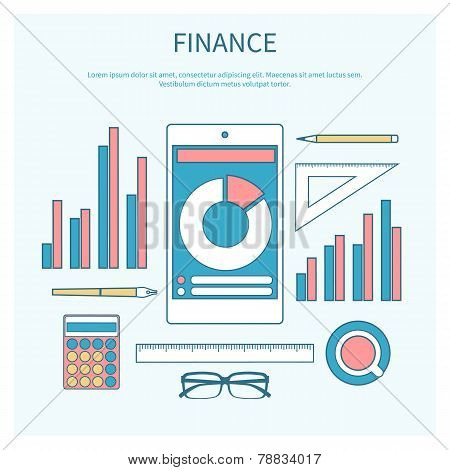 Concept of corporate finance, business management, financial planning with calculator, smartphone, financial documents. Modern design flat icon collection concept in stylish colors of business workflow items and elements poster