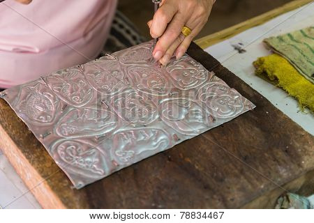 Silversmith Is Making Silverware Decorating Art