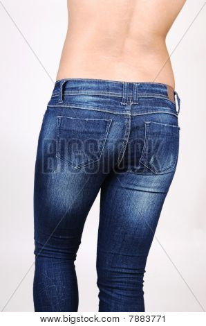 Topless Girl In Jeans.