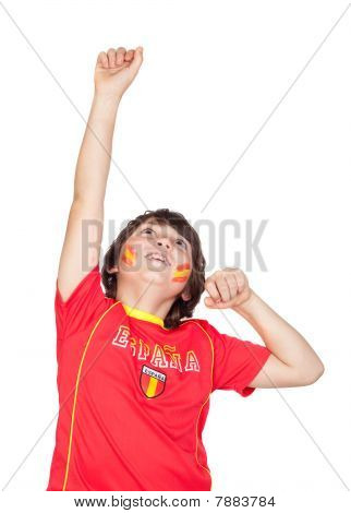 Fan Of The Spanish Team Celebrating A Goal