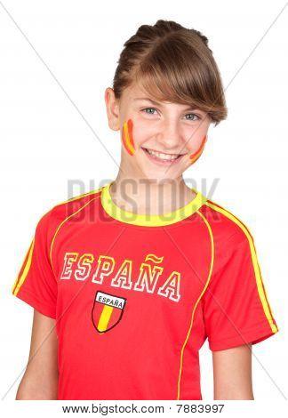 Smiling Girl Fan Of The Spanish Team