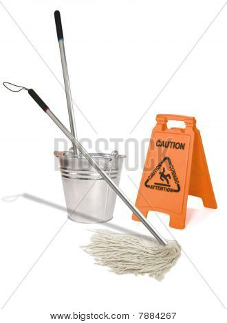 Image of a mop wiping a wet floor poster