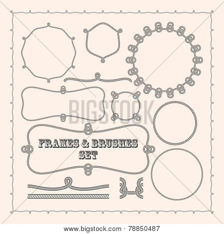 Set of vector frame templates and rope brushes. design element collection
